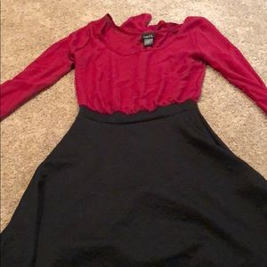 Long sleeve red and black dress